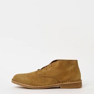 Béžové pánske semišové členkové topánky Selected Homme Royce