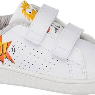 adidas - Biele tenisky na suchý zips Adidas Advantage Inf
