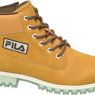Žlto-hnedá členková obuv na zips Fila