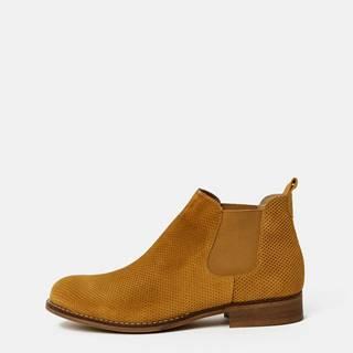 OJJU Hnedé dámske vzorované semišové chelsea topánky OJJU