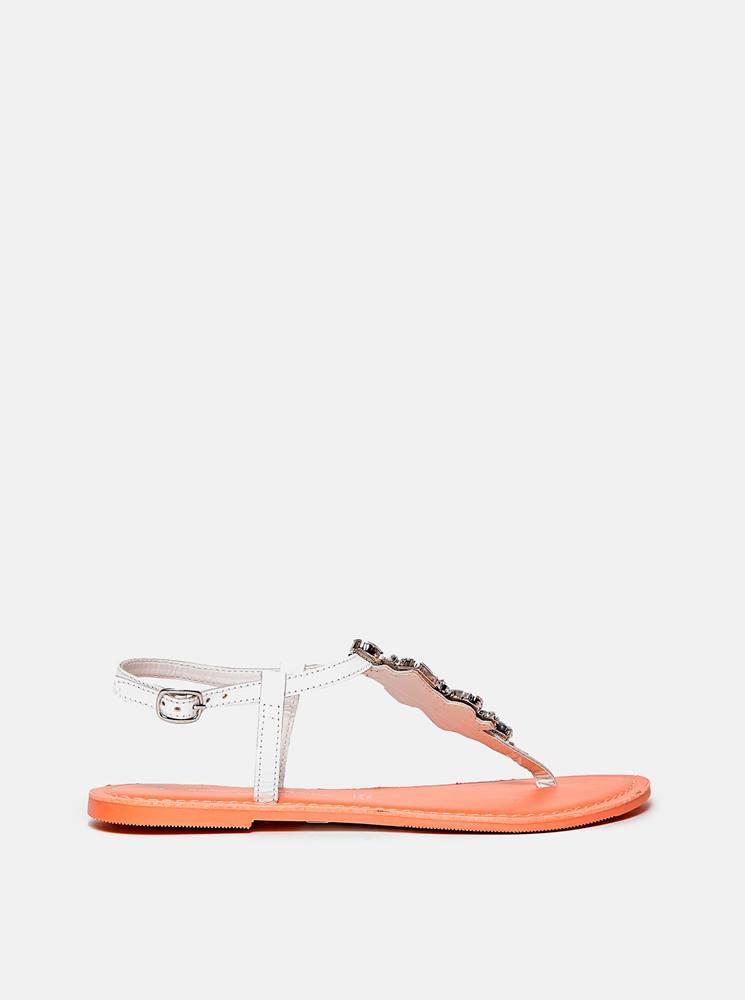Dorothy Perkins Biele kožené sandále Dorothy Perkins