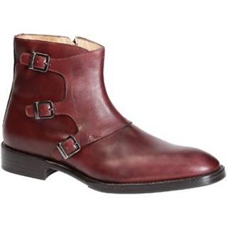 Polokozačky Leonardo Shoes  PINA 42 VITELLO BORDO
