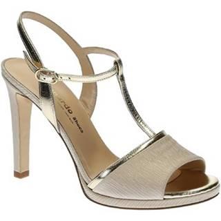 Sandále Leonardo Shoes  17117 SPECCHIO PLATINO PLISSE BEIGE T 3109