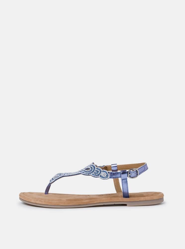 Tamaris Modré kožené sandále s korálkami Tamaris