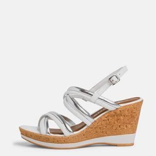 Biele semišové sandálky na plnom podpätku Tamaris