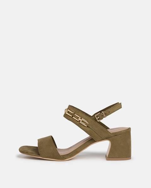 Tamaris  Kaki sandálky v semišovej úprave Tamaris