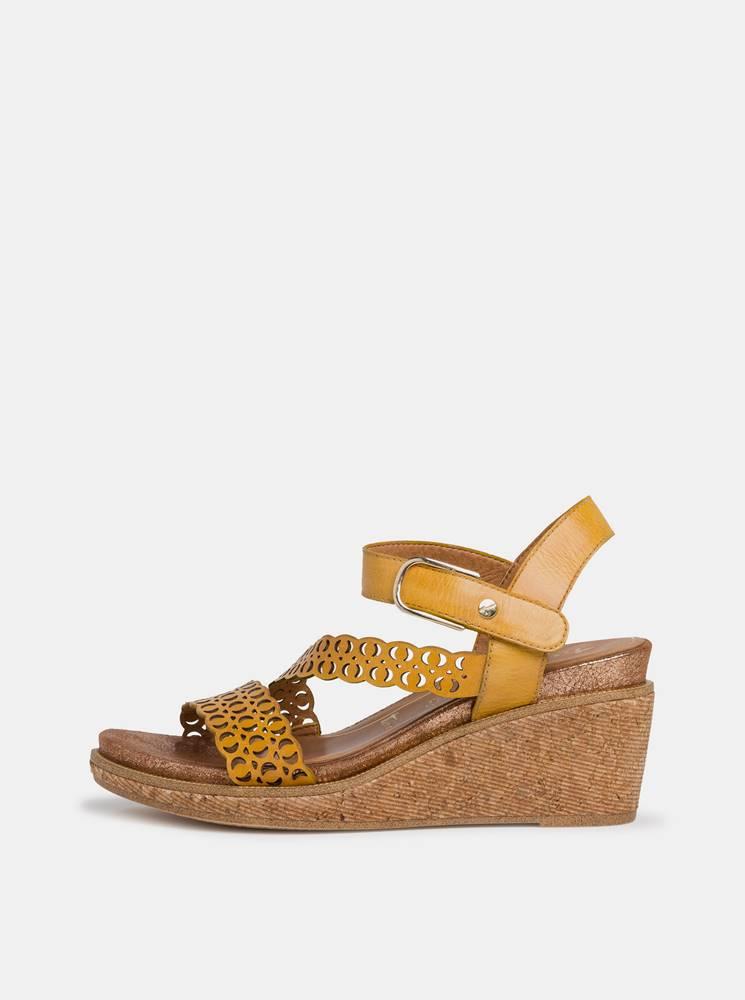 Tamaris Žlté kožené sandálky na plnom podpätku Tamaris