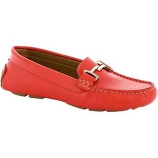 Mokasíny Leonardo Shoes  227 VITELLO ROSSO