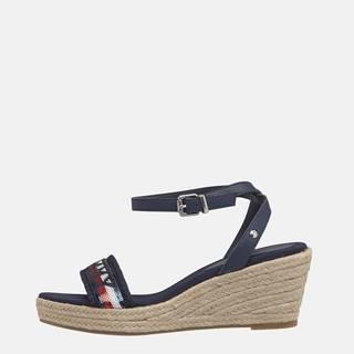 Tmavomodré dámske kožené sandálky Tommy Hilfiger
