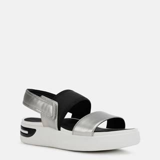 Dámske sandále v čierno-striebornej farbe Geox Ottaya